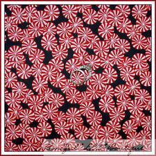 BonEful Fabric FQ Cotton Quilt RED B&W Candy Cane Dot Swirl VTG Pepper*mint Xmas