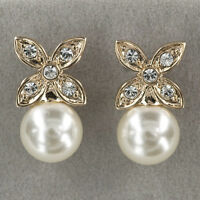 EARRINGS STUD 18K GF 18CT GOLD MADE WITH SWAROVSKI CRYSTAL IMITATION PEARL