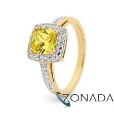 New SimulatedDiamond 9k 9ct Solid Yellow Gold Celebrity Cocktail Ring 2.9Grams