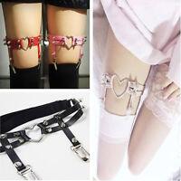 Stud Thigh Garter Belt Elastic Suspender Heart Ring Punk Rivet