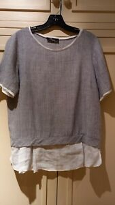 Blue/White Italian linen top 14