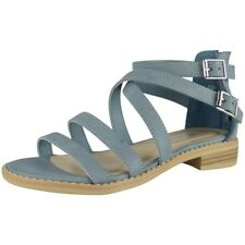 Womens Strappy Gladiator Sandals Ladies Summer Buckle Flats Low Heel Shoes Size UK 5 / EU 38 / US 7 Blue