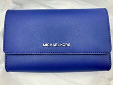 Michael Kors Bag Jet Set Travel 3N1 Wristlet Clutch Crossbody Leather Blue