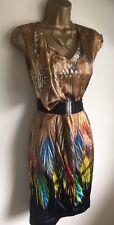 Karen Millen Feather Silk Party Wrap Style Dress UK 12 ❤️💛💙VGC
