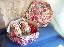 Collection of CHRISTMAS ORNAMENT BALLS Set of 7 in Matching BOX Victorian Roses