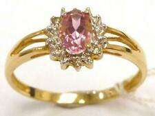 SYJEWELLERY 9CT YELLOW GOLD NATURAL OVAL PINK TOPAZ & DIAMOND RING SIZE N R972