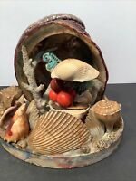 Vintage Parrot Sea Shell Lamp night light Florida Souvenir 60's Seashell Beach