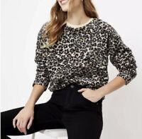 New LOFT Leopard Print Cozy Sherpa Sweatshirt Size XL Long Sleeve NWT