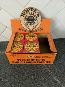 Vtg Full Box Hoppes No. 7 Gun Cleaning Patches .38 to .45 cal 4 Boxes + Display