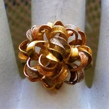 18K 750 Tri Color Yellow Rose Pink White Gold Flower Cocktail Dinner RING 7.2 g.