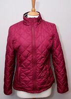 Joules women's wine red diamond quilt padded warm outdoor country jacket uk 12