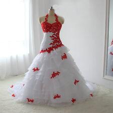 White And Red Color Applique Wedding Dress Halter Organza Skrit Bridal Dresses