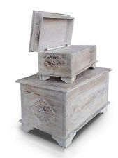 Set of 2 shabby chic floral design chests,trunks,ottomans with Lotus carving