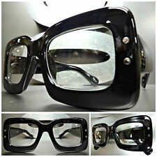 Mens or Women CLASSIC VINTAGE NERD CLUB Clear Lens EYE GLASSES Thick Black Frame