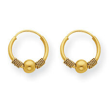 14K Yellow Gold Beaded Endless Hoop Earrings Madi K Children's Jewelry