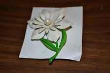 Metal Flower Brooch- still on paper card, was on display in curio cabinet