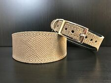 S/M Leather Dog Collar LINED Greyhound Whippet Saluki OLIVE GREEN SNAKE SKIN
