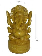 INDIA ~ 7.5 x 4.5 CMS ~ WOODEN GANESHA IDOL/ STATUE BEAUTIFULLY HAND CARVED