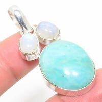 "Enticing Aquamarine Handmade Ethnic Style Jewelry Pendant 1.97 """
