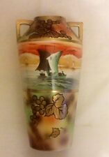 "Antique Royal Nippon Nishiki 12"" Sail Motif Moriage Dbl Handled Handpainted Vase"