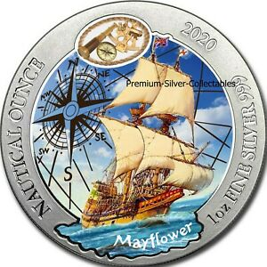 2020 Rwanda Nautical Mayflower 1 Ounce Pure Silver Colorized Coin!!