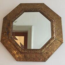 Vintage Brass Octagon Wall Mirror Bevelled Edge Verdigris Round 38cm (m111)