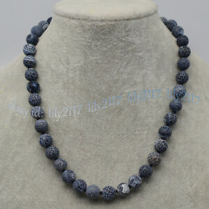Black 6/8/10mm Matte Dream Fire Veins Agate Gems Round Beads Necklaces 14-55''
