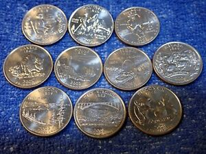 STATE QUARTERS:10 DIFFERENT COINS IN BRILLIANT UNCIRCULATED CONDITION FROM ROLLS