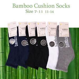 Bamboo Socks Ankle Low Cut Soft Cushion Work Sport Men s7-14 Black Navy White