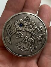 Rare 1950s USSR Soviet Russia vintage silvered powder box compact