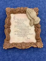 Vintage Praying Hands God Jesus Wall Art Plaque THE LORD'S PRAYER RaRe ❤️sj11h5s