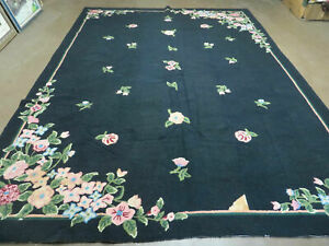8' X 11' Hand Made Chinese Hooked Rug Wool Rug Flowers Black Nice
