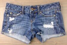 American Eagle Denim Shorts 00 Womens Destroyed Low Rise 5 Pocket Jean Blue