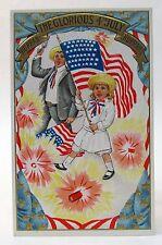 pre 1907 Kids Waving Flags Hurrah Glorious Fourth of July embossed postcard