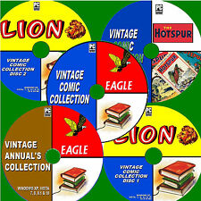 1000+ CLASSIC COMICS / ANNUALS LION EAGLE HOTSPUR 30s-80s EDITIONS NEW 5 PC-DVDs
