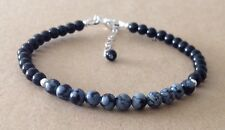 Black Onyx+SNOWFLAKE OBSIDIAN, Sterling Silver, Beaded Friendship Bracelet