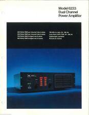JBL Professional Series - Model 6233 Dual Channel Power Amp - DEALER BROCHURE
