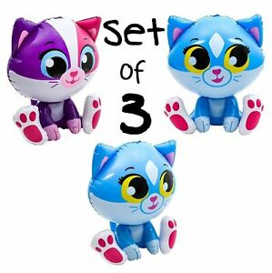 (Set of 3) 24'' Blue & Multi Color Kittens/Cats Meow Inflatable-Party Decoration