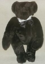 """Vermont Teddy Bear 16"""" Jointed Plush Black Bear With Bowtie"""