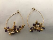 Nugaard Small Hoop with Grape Stem Wrapped in Gems Earrings Purple RI 44