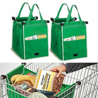 Reusable Supermarket Grocery Shopping Eco Foldable Bags Clip-To-Cart Bag Home