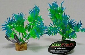 Set of 2   Tetra GloFish Cycle Plant Green/Blue Plastic Aquarium Plant  Small