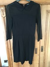 MANGO CASUAL Black fitted dress chiffon sleeves collar - S 8 10 - Zara Topshop