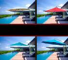 New 10' Patio Outdoor Offset Hanging Sun Umbrella -Beige Red Blue Green Burgundy
