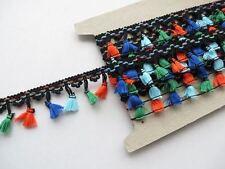 Black tassel fringe trimming, coloured tassels festival crochet dance edging 1mt