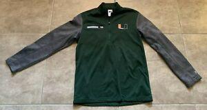 Russel University of Miami Hurricanes 1/4 Zip Green Jacket Adult Men's Size S