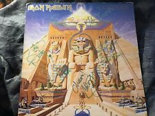 IRON MAIDEN signed LP COVER by BAND - POWERSLAVE UK PROMO - COVER only NO VINYL