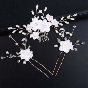3Pcs/Set Bridal Bridesmaid Wedding Hair Comb Pearl Flower Hair Pin Hairpiece