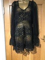 BNWOT Jeff Gallano Dress Size 2 (10) Black Crochet Chiffon Sleeves