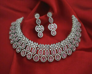 Cz Indian Bollywood AD Silver Colored Wedding Necklace Set Earrings Swam Jewelry
